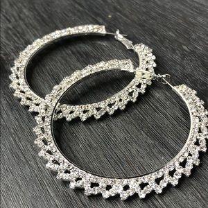 Jewelry - Stunning Rhinestone Large Hoops!